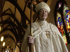(Leah Hogsten   The Salt Lake Tribune) St. Mark's Cathedral's Bishop Carolyn Tanner Irish delivered a pastoral letter on the war during Sunday's service on April 26, 2004, in Salt Lake City. Irish died Tuesday.