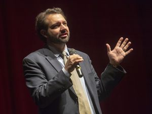 (Rick Egan  |  Tribune file photo)  Utah Democratic Party Chairman Jeff Merchant speaks at a party gathering at Eisenhower Jr. High in this Feb. 23, 2019, file photo. Merchant, who wasn't chair at the time of the photo, is not seeking a second term in the post.