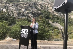 (Brian Maffly   The Salt Lake Tribune) Salt Lake County Mayor Jenny Wilson addresses reporters Wednesday at the mouth of Little Cottonwood Canyon, announcing the county's opposition to a gondola state transportation officials are considering for the famous canyon.