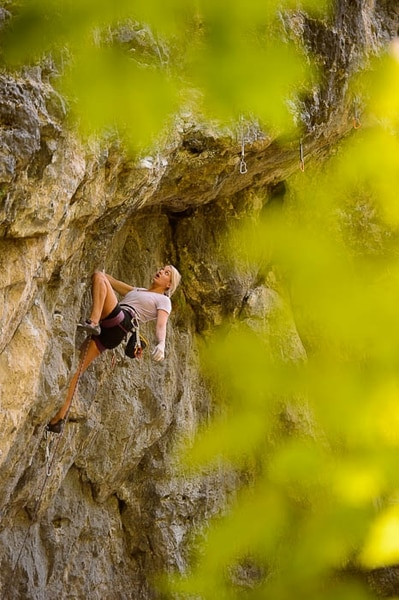 (Trent Nelson | The Salt Lake Tribune) Victoria Brunner rock climbing in American Fork Canyon, Tuesday July 17, 2018.