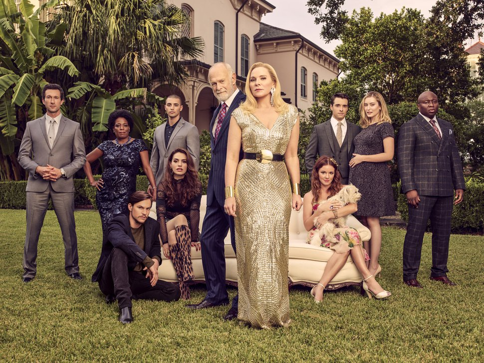 "(Photo courtesy of Justin Stephens/Fox) Aaron Laza, Deneen Tyler, Mark L. Young, Melia Kreiling, Benjamin Aquilar, Gerald McRaney, Kim Cattrall, Aubrey Dollar, Corey Cott, Olivia Macklin and Steve Harris star in ""Filthy Rich."""
