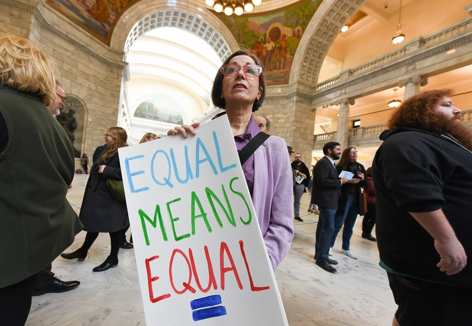 (Francisco Kjolseth | The Salt Lake Tribune) Susan Radtke with Fair Utah joins other local supporters of the Equal Rights Amendment as they rally at the Utah Capitol on Tuesday, Dec. 3, 2019, to encourage Utah to ratify the ERA.