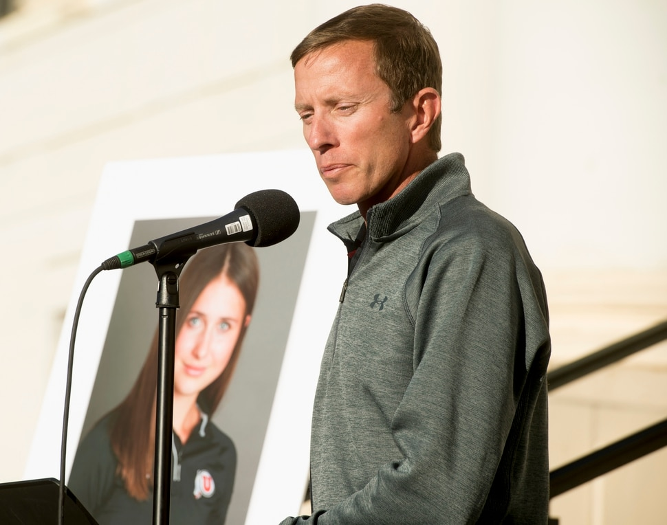 (Jeremy Harmon | The Salt Lake Tribune) University of Utah track coach Kyle Kepler speaks during a vigil for Lauren McCluskey on Wed. Oct 24, 2018. McCluskey was killed on campus on Monday.