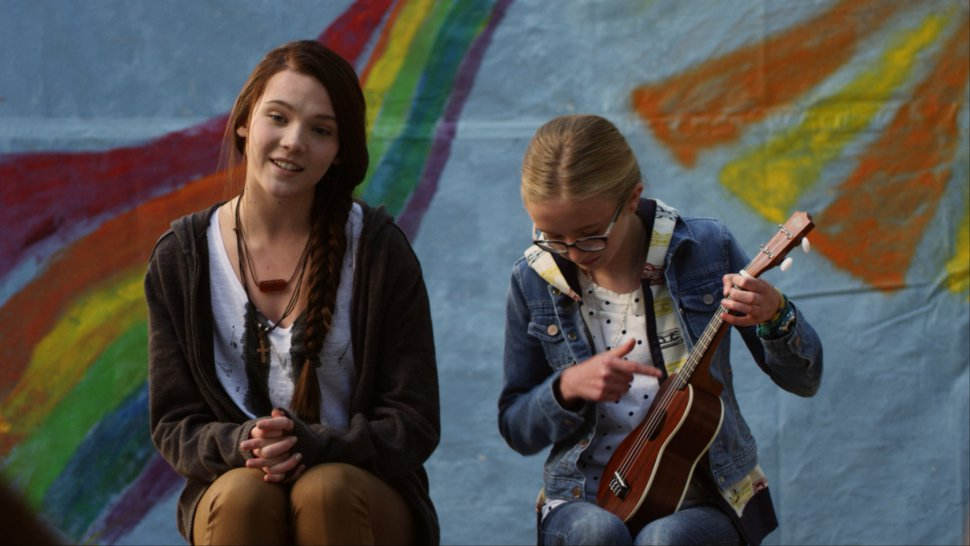 | courtesy Thrillion Dollar Movie Lane (Paris Warner, left) and her step-cousin Phoebe (Mila Smith) perform a song in a summer-camp talent show, in the Utah-made comedy-drama