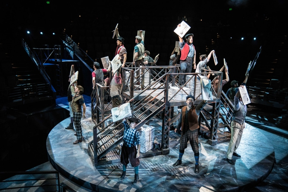 (photo courtesy Hale Centre Theatre) A scene from Hale Centre Theatre's 2018 production of Newsies in the company's in-the-round Centre Stage.