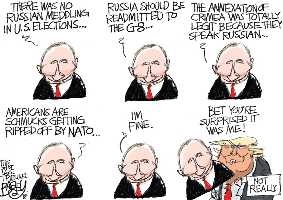 This Pat Bagley cartoon appears in The Salt Lake Tribune on Thursday, July 12, 2018.