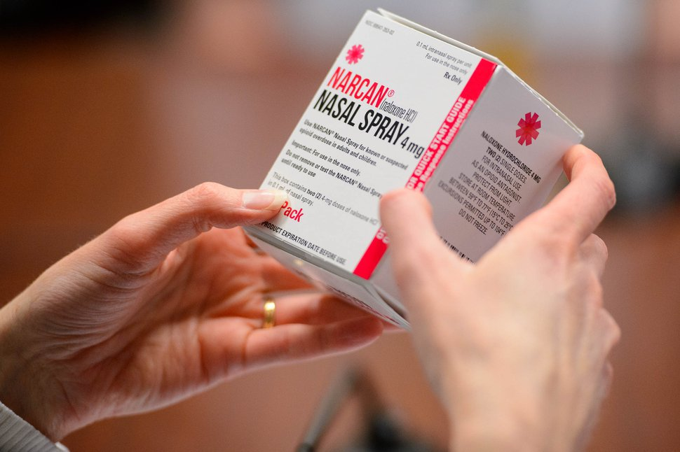 (Trent Nelson | The Salt Lake Tribune) Tiffani King and Salt Lake County Mayor Jenny Wilson present information about NARCAN, the opioid antagonist drug, to the County Council in Salt Lake City on Tuesday, Feb. 11, 2020.