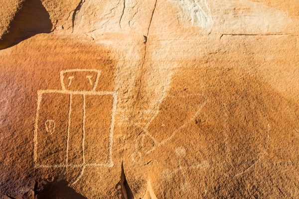 (Courtesy of Jonathan Bailey | Bailey Images) Images of rock art located in the western reefs of Utah's San Rafael Swell, on parcels proposed for oil and gas leasing by the BLM. Carved nearly one thousand years ago, the art displays several human figures, including one with tears running from the eyes.