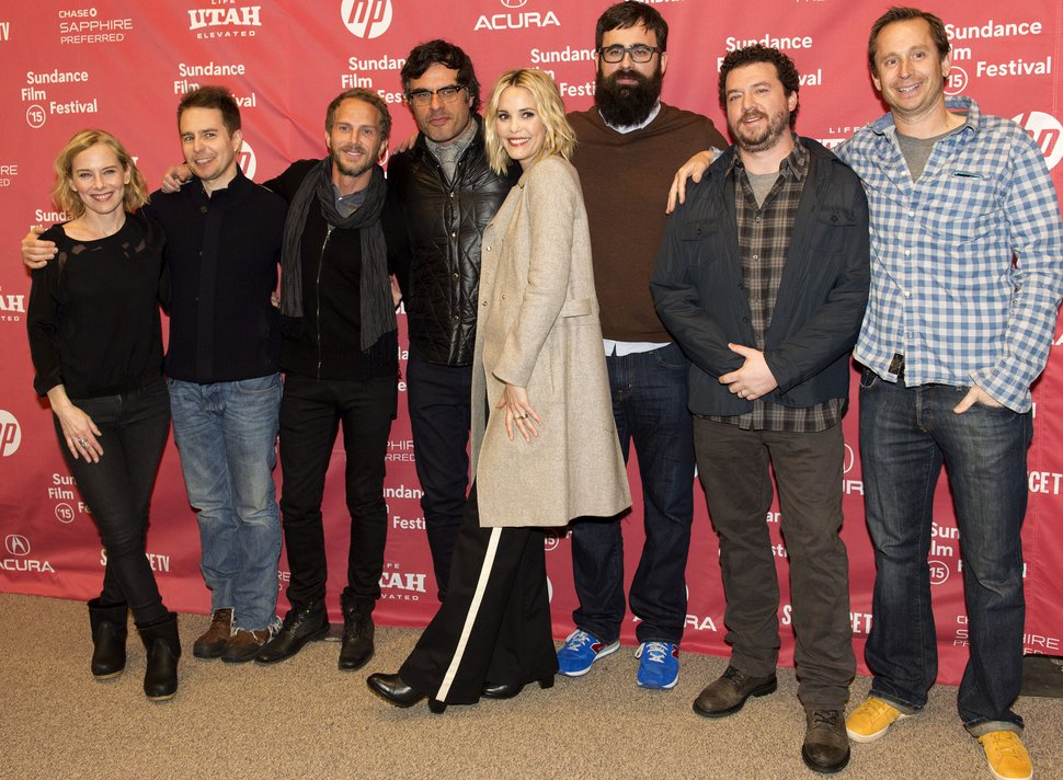 (Rick Egan | Tribune file photo) Amy Ryan, Sam Rockwell, Brant Anderson, Jemaine Clement, Leslie Bibb, Jared Hess, Danny McBride and Dave Hunter, pose for photos at the premiere of