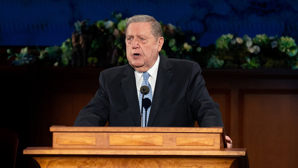 (Photo courtesy of The Church of Jesus Christ of Latter-day Saints) Elder Jeffrey R. Holland speaks during the Sunday morning session of General Conference on April 5, 2020.