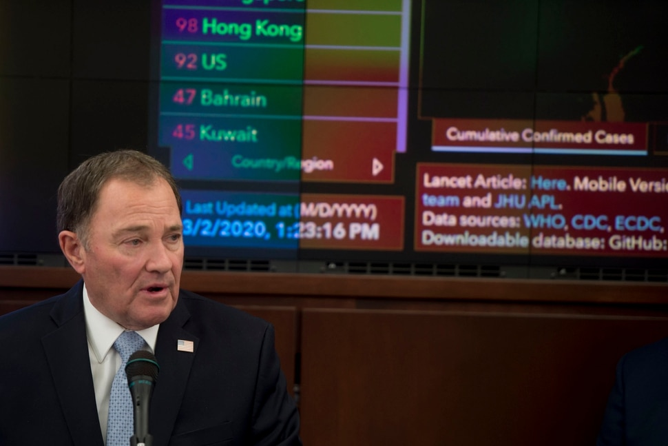 (Jeremy Harmon | The Salt Lake Tribune) Gov. Gary Herbert talks about what the state is doing in case of a coronavirus outbreak in Utah during a new conference at the State Capitol on Monday, March 3, 2020.