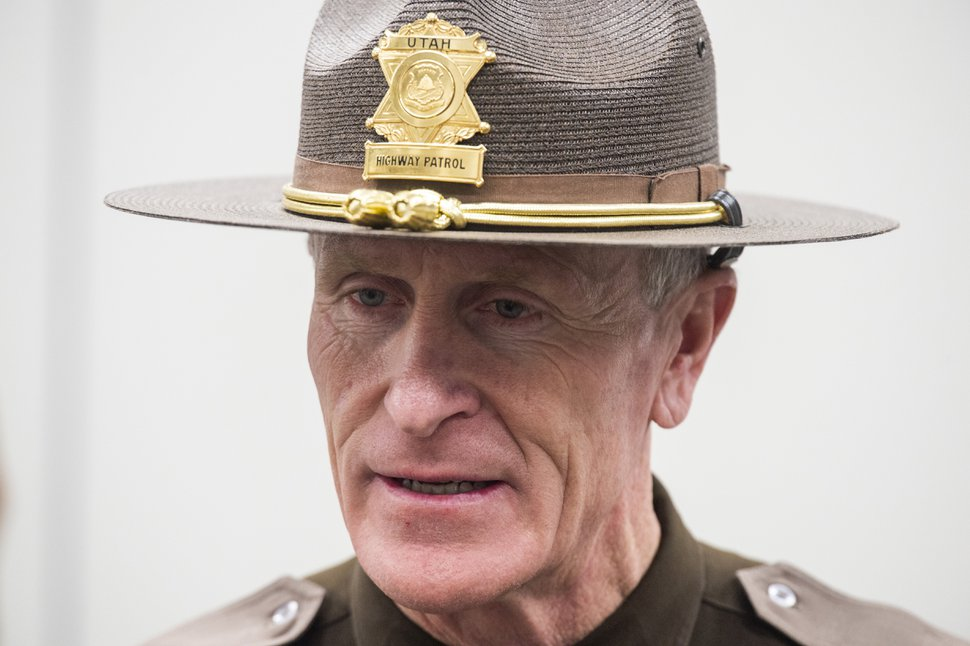 (Rick Egan | The Salt Lake Tribune) Utah Highway Patrol Col. Michael Rapich talks about the data for 2018 highway fatalities, during a news conference Thursday, Jan. 17, 2019.
