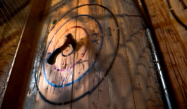 (Leah Hogsten | The Salt Lake Tribune) Salt Lake Social Axe Throwing, at 1154 S. 300 West, will now be able to serve beer.