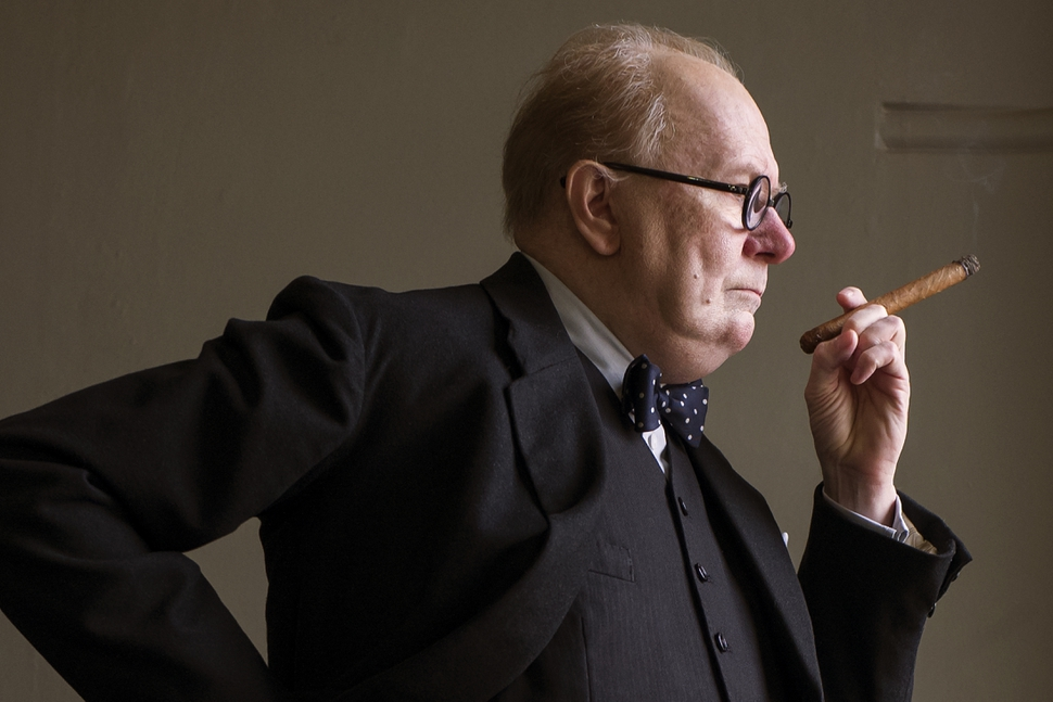 This image released by Focus Features shows Gary Oldman as Winston Churchill in a scene from Darkest Hour. On Monday, Dec. 11, 2017, Oldman was nominated for a Golden Globe for best actor in a motion picture drama for his role in the film. The 75th Golden Globe Awards will be held on Sunday, Jan. 7, 2018 on NBC. (Jack English/Focus Features via AP)
