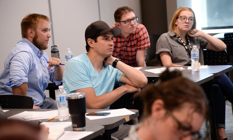 (Francisco Kjolseth | The Salt Lake Tribune) Manuel Delgado, center, listens during the campaign and candidate training sponsored by the Emerging Leaders Initiative of Utah on Saturday, July 20, 2019.