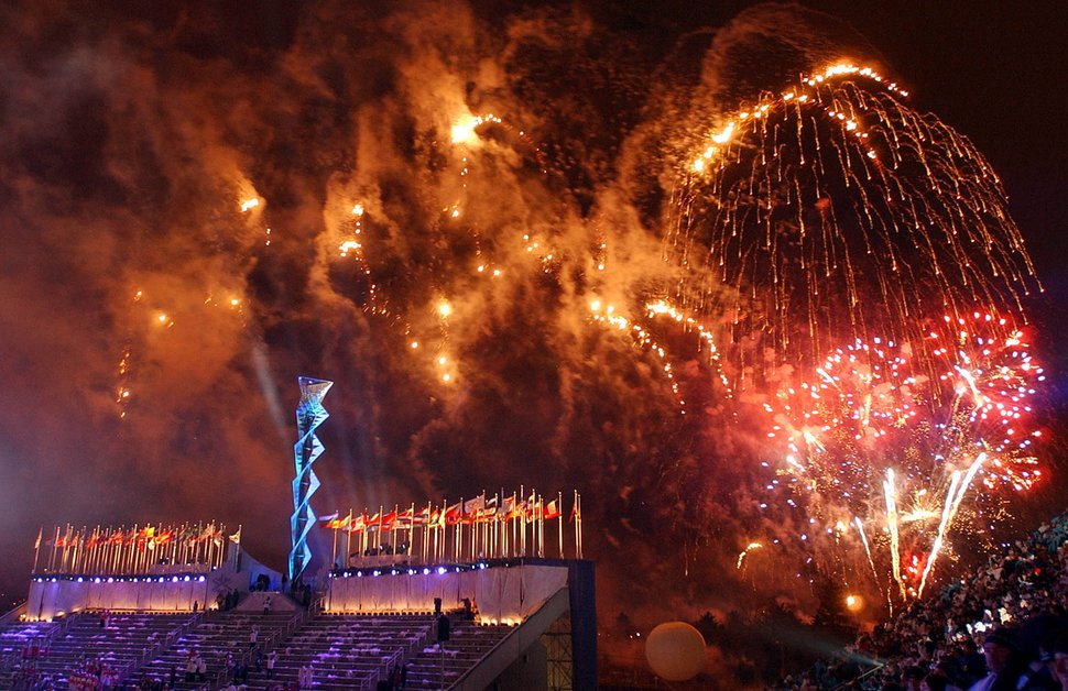 (Francisco Kjolseth | Tribune file photo) Fireworks explode over Rice-Eccles Stadium during the Closing Ceremony for the 2002 Winter Olympic Games.