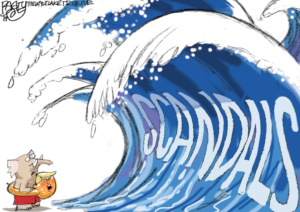 (Pat Bagley | The Salt Lake Tribune) This cartoon, titled Wave Impeachment, appears in The Salt Lake Tribune on Friday, Oct. 11, 2019.