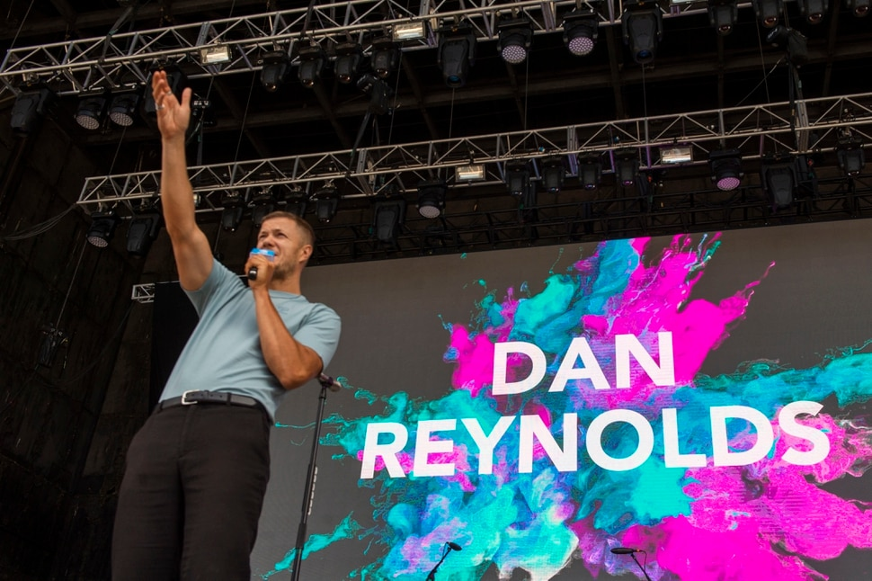 (Rick Egan | The Salt Lake Tribune) Dan Reynolds talks to the crowd at the beginning of the LoveLoud Festival at the USANA Amphitheater, Saturday, June 29, 2019.