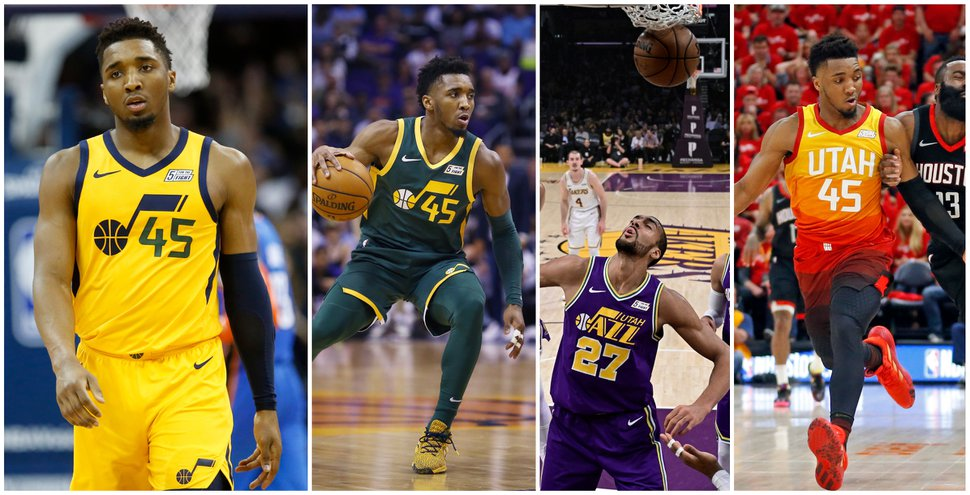 Alternate Jazz jerseys from 2018-19. From left to right, photos from AP Photo/Sue Ogrocki, AP Photo/Ross D. Franklin, AP Photo/Mark J. Terrill, AP Photo/Rick Bowmer