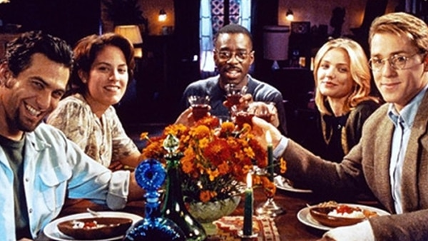 ( | Sony Pictures) Five grad students (from left: Jonathan Penner, Annabeth Gish, Courtney B. Vance, Cameron Diaz, Ron Eldard) plot to remove undesirables from the world in the 1995 satirical comedy