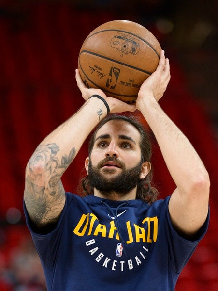 (Leah Hogsten | The Salt Lake Tribune) Utah Jazz guard Ricky Rubio (3) shoots around the court as the Utah Jazz get ready to take on the Houston Rockets in Game 3 of an NBA basketball second-round playoff series Friday, May 4, 2018 in Salt Lake City.
