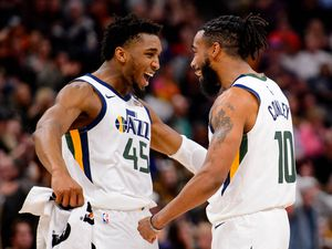 (Trent Nelson  |  The Salt Lake Tribune) Utah Jazz guard Donovan Mitchell (45) and Utah Jazz guard Mike Conley (10) in the fourth quarter as the Utah Jazz host the Sacramento Kings, NBA basketball in Salt Lake City on Saturday, Jan. 18, 2020. They'll be celebrating again if both get picked as reserves for the West All-Star team.