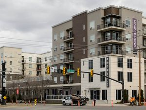(Trent Nelson  |  Tribune file photo) Encore Apartments at 489 E. 400 South in Salt Lake City on Tuesday, March 31, 2020, part of a historic wave of new apartments built in Utah's capital built over the past decade.  That torrid pace of construction is picking up even more now, but the trend is unlikely to slow rent rises anytime soon.