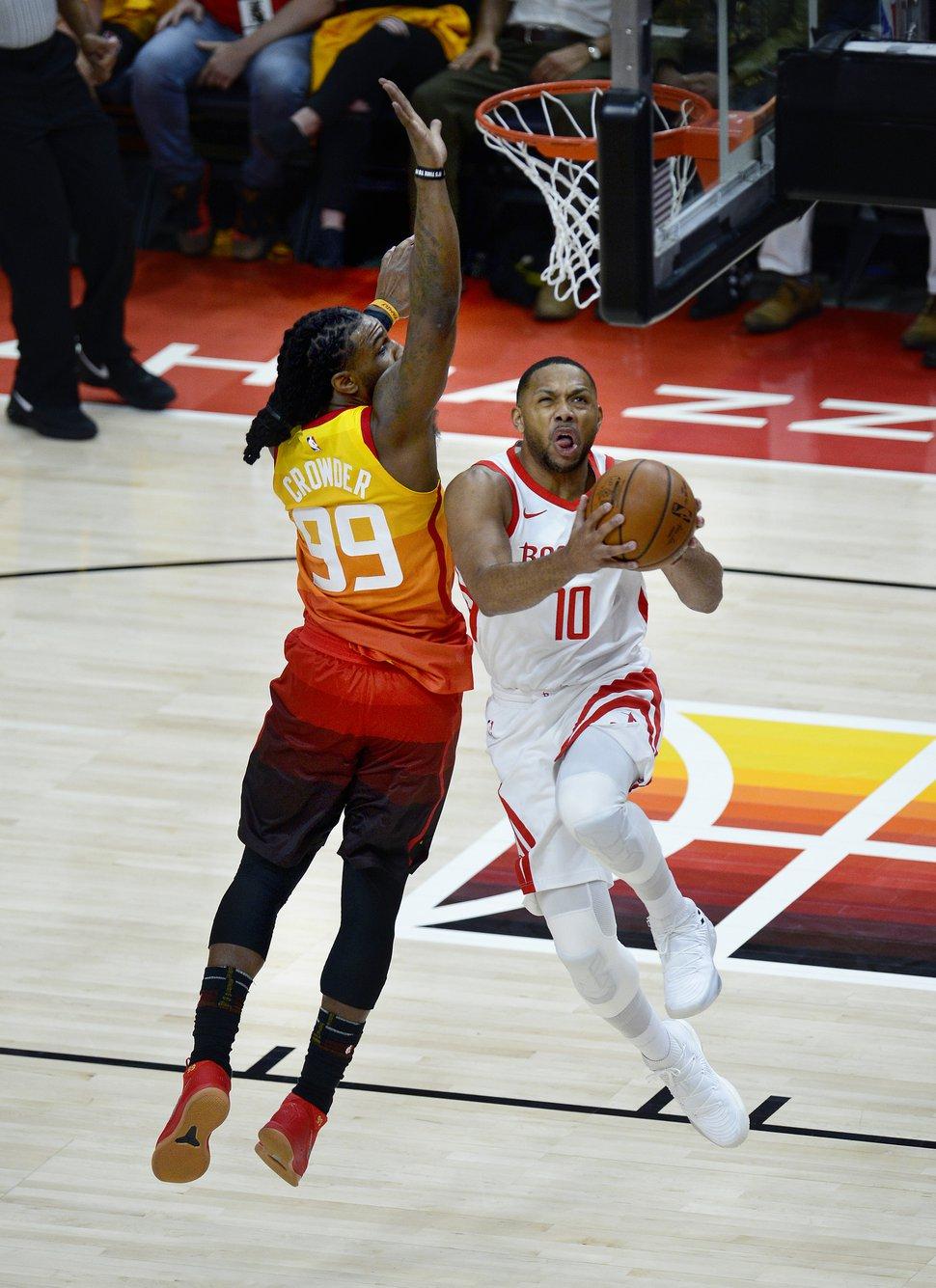 (Scott Sommerdorf | The Salt Lake Tribune) Utah Jazz forward Jae Crowder (99) defends Houston Rockets guard Eric Gordon (10) during first half play. The Houston Rockets led the Utah Jazz 70-40 at the half of game 3, Friday, May 4, 2018.