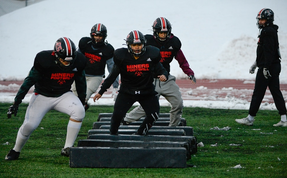 (Francisco Kjolseth | The Salt Lake Tribune) The Park City Miners prepare for their upcoming 4A Championship game on Wednesday, Nov. 20, 2019, in Park City before facing Sky View in the 4A state title game Friday. If they win, it would be the first football title for the school. They have played in five championship games before this year, with the last one taking place in 2001.