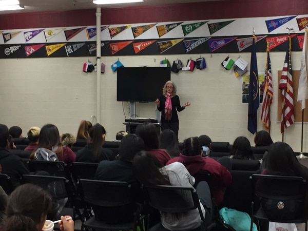 (Photo courtesy of the Ute Indian Tribe Political Action Committee) Christine Sleeter speaks to students at Uintah River High School on Monday, Sept. 25, 2017.