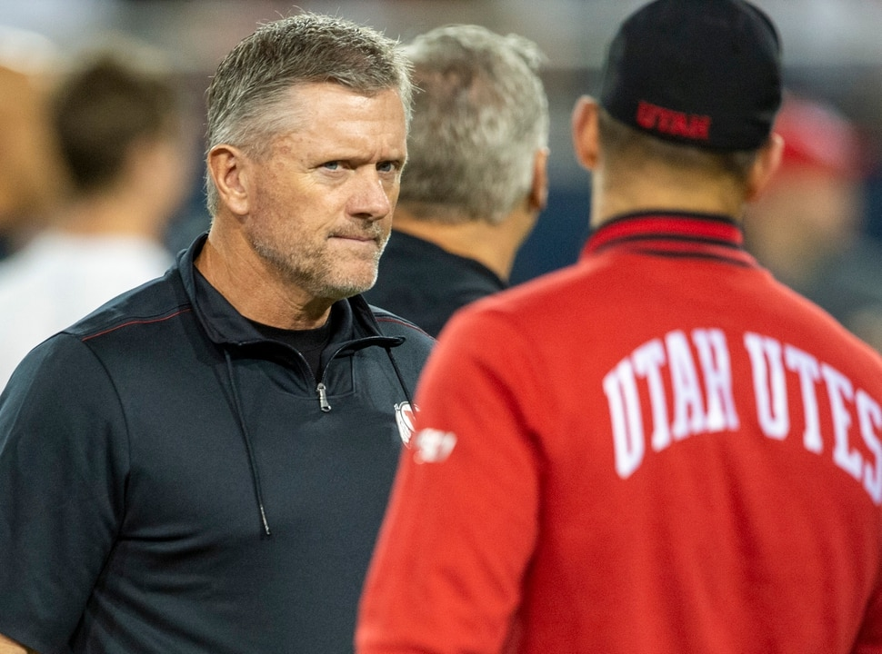 (Rick Egan | The Salt Lake Tribune) Utah Utes head coach Kyle Whittingham before watches his team warm up, before PAC-12 action between the Utah Utes and the Arizona Wildcats in Tucson, Saturday, Nov. 23, 2019.