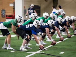 (Jaren Wilkey|Courtesy of BYU Athletics) All the quarterbacks vying for the starting gig left void by the departure of Zach Wilson line up for drills during the first day of spring football, March 1.