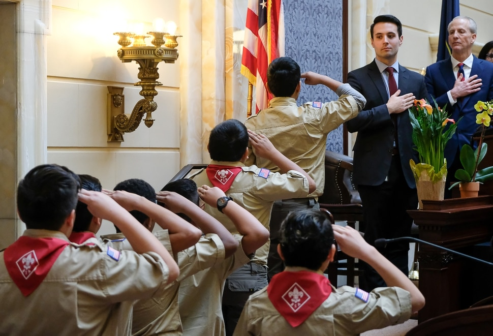 (Francisco Kjolseth | The Salt Lake Tribune) Boy Scout troop 1994 posts the colors during the opening of the 2018 legislative session on the senate floor at the Utah Capitol on Monday, Jan. 22, 2018.