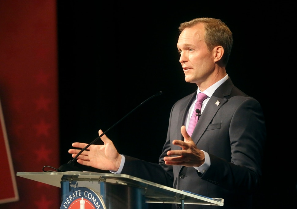 (Kristin Murphy | Deseret News/pool) Rep. Ben McAdams, D-Utah, participates in the 4th Congressional District debate with his Republican challenger Burgess Owens, not pictured, at the Triad Center in Salt Lake City on Monday, Oct. 12, 2020.