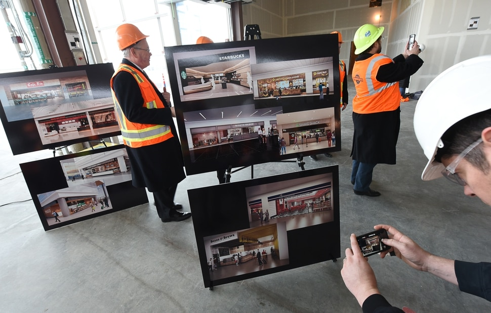 (Francisco Kjolseth | The Salt Lake Tribune) Salt Lake City International Airport announces food concessionaires for the first phase of the new expanded airport during a tour on Wed. Feb. 20, 2019, as renderings provide a visual snapshot of the food and beverage options that is said to include 23 concepts with a number of home-grown options that are local favorites.