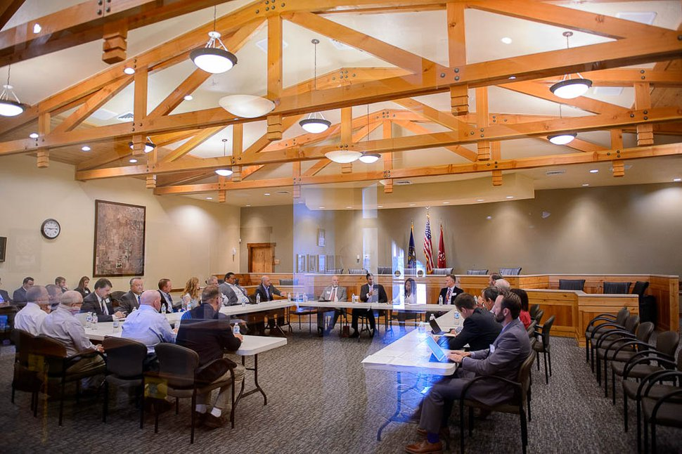 (Trent Nelson | The Salt Lake Tribune) FCC Chairman Ajit Pai and Rep. Mia Love hold a roundtable in Eagle Mountain on Thursday Aug. 23, 2018. Rural broadband providers discussed