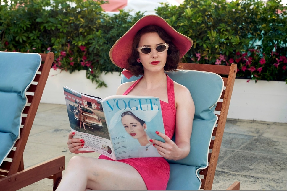 """This image released by Amazon Studios shows Rachel Brosnahan in a scene from """"The Marvelous Mrs. Maisel. (Nicole Rivelli/Amazon Studios via AP)"""