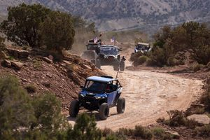 """(Rick Egan   The Salt Lake Tribune) UTV side-by-sides explore the """"Behind the Rocks Trail"""" in San Juan County, along US-191, as part of the Rally on the Rocks trail ride on Friday, May 14, 2021."""