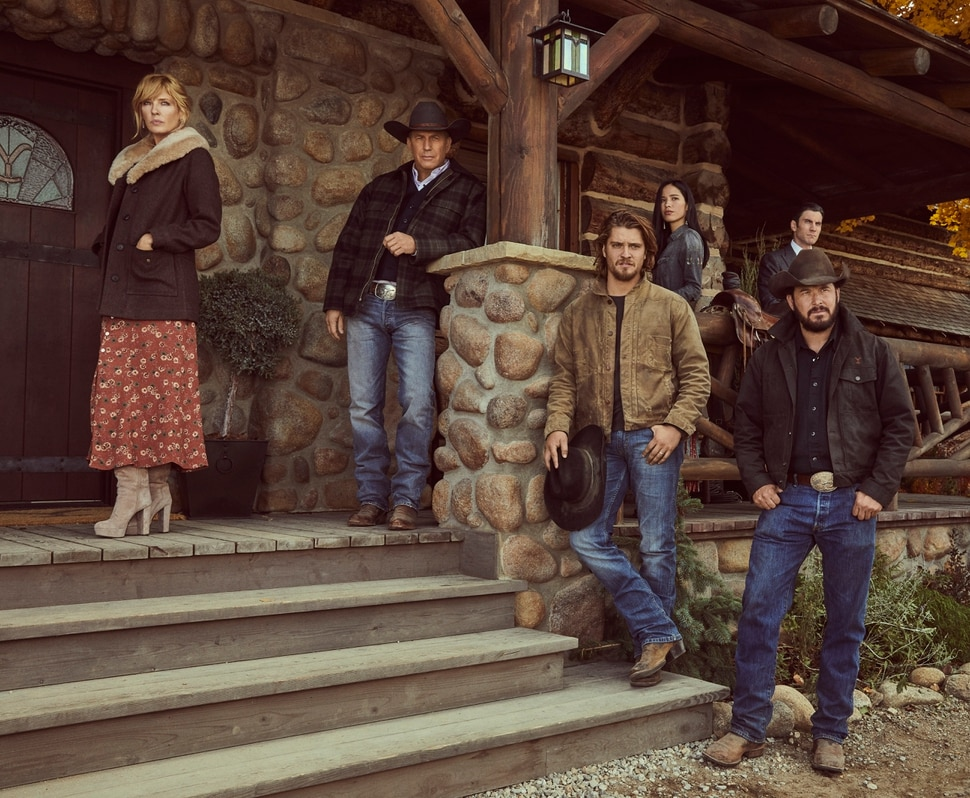 """(Photo courtesy Paramount Network) Kelly Reilly as Beth Dutton, Kevin Costner as John Dutton, Luke Grimes as Kayce Dutton, Kelsey Asbille as Monica Long Dutton, Wes Bentley as Jamie Dutton and Cole Hauser as Rip Wheeler in """"Yellowstone."""""""