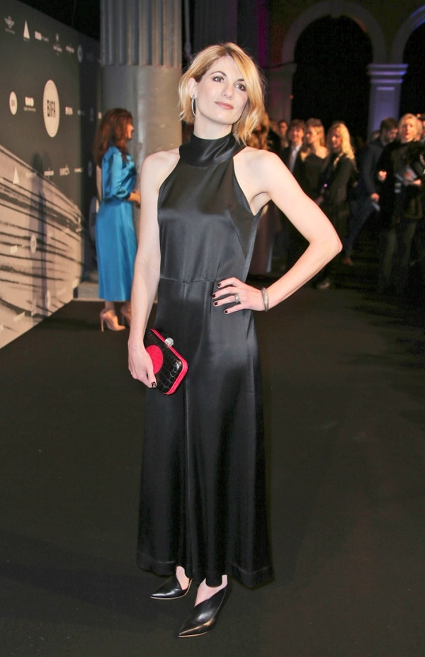 FILE - In this file photo dated Sunday Dec. 4, 2016, British actress Jodie Whittaker poses for photographers upon arrival at the The British Independent Film Awards in London. The BBC has announced Sunday July 16, 2017, Jodie Whittaker is the next star of the long-running science fiction TV series