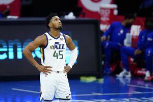 (Matt Slocum | AP) Utah Jazz's Donovan Mitchell plays during an NBA basketball game against the Philadelphia 76ers, Wednesday, March 3, 2021, in Philadelphia.