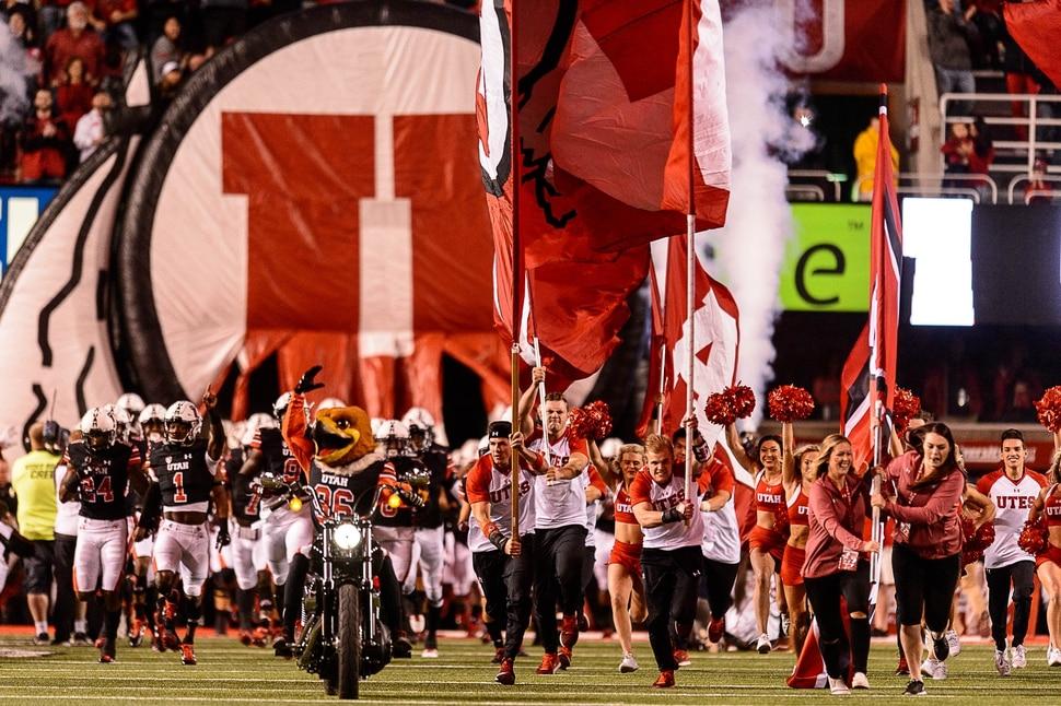 (Trent Nelson | The Salt Lake Tribune) Utah takes the field as the Utah Utes host the San Jose State Spartans, NCAA football at Rice-Eccles Stadium in Salt Lake City, Saturday September 16, 2017.