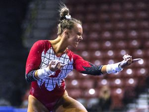 (Rick Egan | The Salt Lake Tribune) Abby Paulson reacts after competing on the uneven bars for Utah in the PAC-12 Gymnastics Championship tournament at the Maverik Center, on Saturday, March 20, 2021.