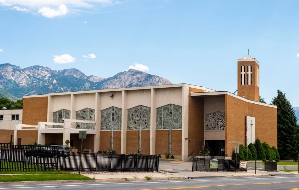 (Rick Egan | The Salt Lake Tribune) St. Ambrose Church and J.E. Cosgriff Memorial Catholic School, Monday, July 29, 2019.