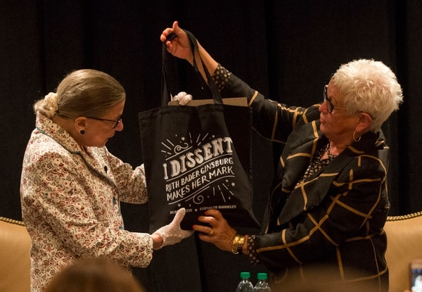 Rick Egan | The Salt Lake Tribune Deanell R. Tacha, talks about U.S. Supreme Court Justice Ruth Bader Ginsburg's tote bag, at the Utah State Bar, annual convention at the Sun Valley Inn, Friday, July 28, 2017.