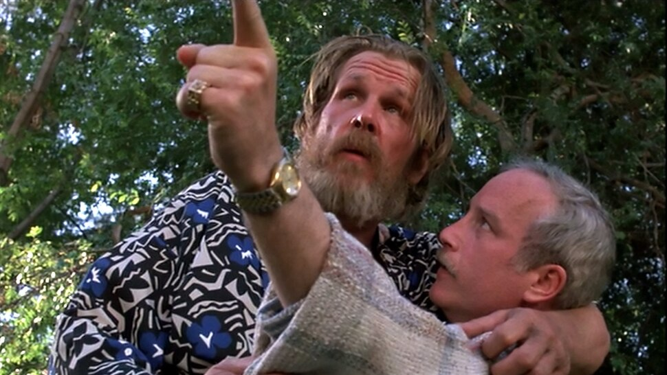 ( Courtesy Touchstone Pictures) Jerry Baskin (Nick Nolte, left) lands in the life, and pool, of wealthy Dave Whiteman (Richard Dreyfuss) in director Paul Mazursky's 1986 comedy Down and Out in Beverly Hills.