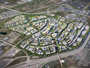 (Rendering by Skidmore, Owings & Merrill, via Point of the Mountain State Land Authority) A bird's-eye view of The Point, a Utah-backed housing and economic development project proposed on 600 state-owned acres at Point of the Mountain in Draper. The land is to be vacated by Utah State Prison when that facility moves to west Salt Lake City sometime in 2022.