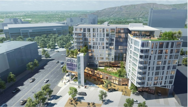 (Rendering by The Ritchie Group) A rendering of The Ritchie Group's proposed Block 67 development in Salt Lake City, as though looking north along 300 West. Supporters of Japantown along 100 South fear the development could wipe out the historic cultural enclave.