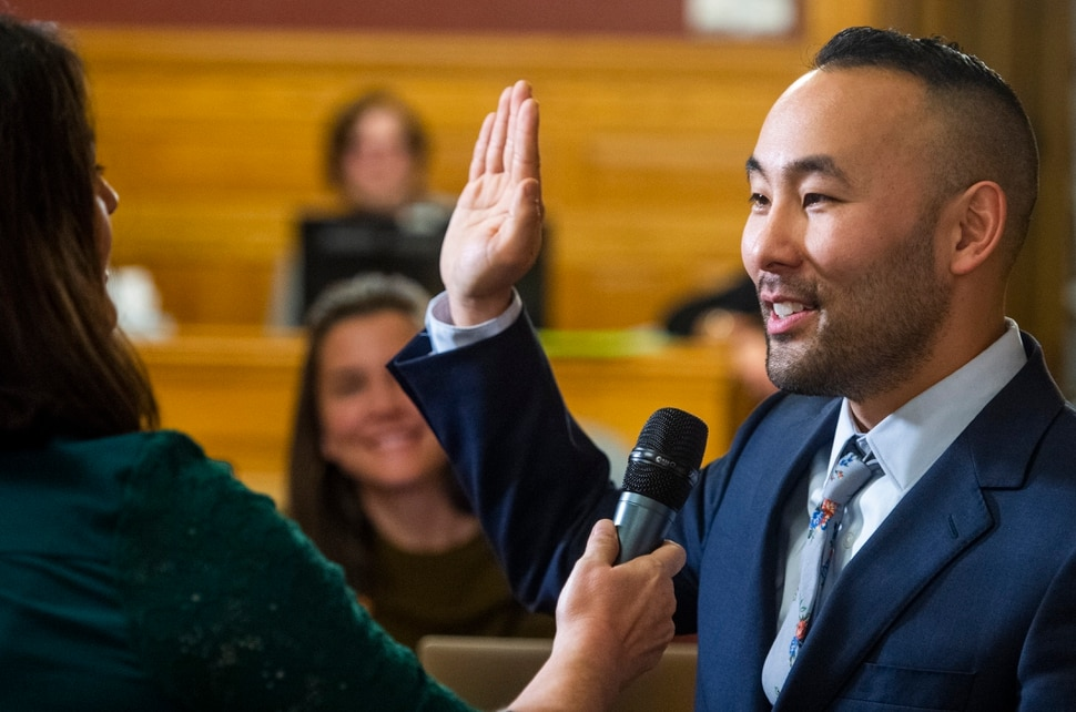 (Rick Egan | The Salt Lake Tribune) Darin Masao Mano is sworn in as a member of the the Salt Lake City Council, after being selected from 24 candidates. Mano will takes the position vacated by Mayor Erin Mendenhall. Tuesday, Jan. 21, 2020.