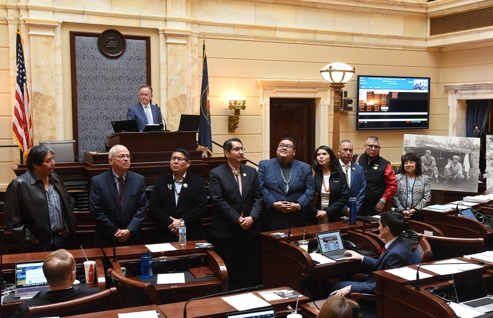 (Francisco Kjolseth | The Salt Lake Tribune) Members of the Navajo nation take to the Senate floor as Utah lawmakers on Monday unanimously passed a resolution honoring the Navajo Code Talkers and dedicating Aug. 14, 2019, to the World War II service members whose unbreakable code boosted the U.S. Marine Corps in the Pacific Theater.